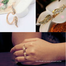 Romantic Adjustable Vintage Angel Wing Gold Plated Open Crystal Ring Love Gift