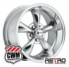 """17 inch 17x8/17x9"""" Retro Wheel Designs Polished Rims for Chevy S10 2wd 82-05"""