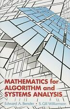 Mathematics for Algorithm and Systems Analysis by S. Gill Williamson and...