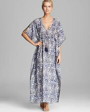 TORY BURCH Madura Fans Voile Maxi Caftan Kimono Coverup Dress in blue XS / S