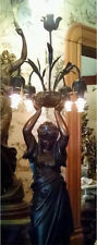Monumental Victorian Nouveau Bronze Patinated Spelter Figural Lady Newel Lamp