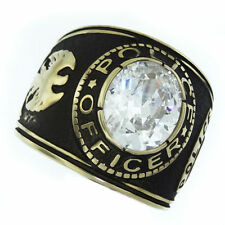 POLICE OFFICER CLEAR STONE GOLD SS RING SIZE 7 8 9 10 11 12 13 14