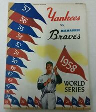 1958 NY YANKEES vs MILWAUKEE BRAVES WORLD Series Program Mantle Aaron Berra Ford