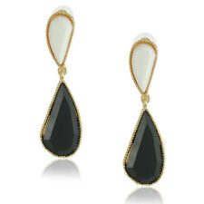 Fashion Unique Style Long Wave White & Black Teardrop Drop Earrings E455