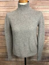 THEORY Sweater PS Petite Small Mock Turtleneck Gray 100% Cashmere Ribbed