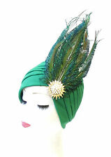 Green Gold Peacock Feather Turban Headpiece Vintage Cloche 1920s Flapper 1333