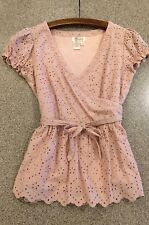 ⛵️ ARYEH Anthropologie Blush Eyelet Beaded V-Neck Belted Faux Wrap Cotton Top S