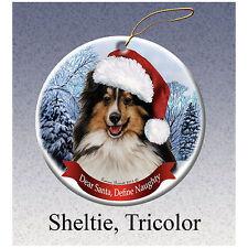 Sheltie Tri Color Howliday Porcelain China Dog Christmas Ornament