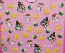 Accessoire ongles nail art, Stickers noël : Bonhomme de neige, étoiles et fleurs