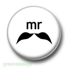 Mr Moustache 1 Inch / 25mm Pin Button Badge Movember Facial Hair Man Men Male