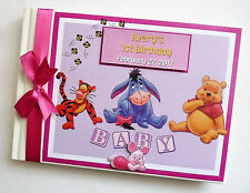 WINNIE THE POOH  AND FRIENDS GIRL 1ST BIRTHDAY GUEST BOOK - ANY DESIGN