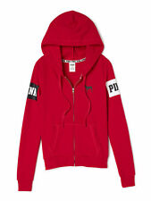 NIP VICTORIA'S SECRET PINK Graphic Perfect Full-Zip Fleece Hoodie Bright Red S