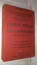 CODICE PENALE E CODICE DI PROCEDURA PENALE L Franchi Hoepli 1932 Manuale di e