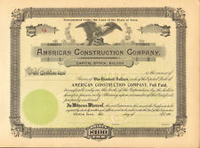 American Construction Company   early 1900s Clinton Iowa stock certificate share