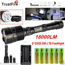18000LM TrustFire 3X CREE XML T6 LED Flashlight Torch + 6x 18650 Battery+Charger