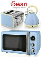 Swan Kettle and Toaster Set + Microwave Blue Toaster Pyramid Kettle & Microwave