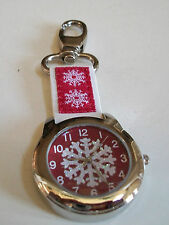Elegant keychain silver finish Christmas Snow Flake watch