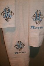 Monogram Adorn Letter  Personalized 3 Piece Bath Towel Set ANY COLOR