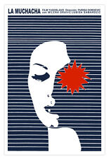 "Cuban movie Poster for film""La MUCHACHA""The Girl.Blue stripes design.Modern art"