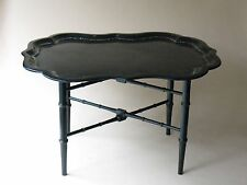 Old paper mache tray TABLE folding wood legs Victorian American European painted
