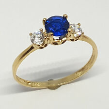 14K solid yellow gold 5mm Sapphire round faceted & white topaz ring, size 7
