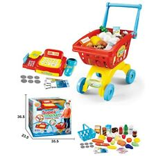 CASH REGISTER TILL & SHOPPING TROLLEY & PLAY FOOD CHILDRENS ROLE PLAY RED 6809