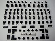Lego Bulk Lot 93 Black Pieces 1x1 1x2 Parts Plates Grill Tiles Clips Slopes Caps