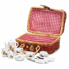 TEDDY BEAR PICNIC MINI TEA SET CUTE WICKER HAMPER CHILD GIRLS TOY PRESENT GIFT