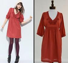 Anthropologie Dress Size 4 Small Generra Silk Cotton A-line Red Copper NWT