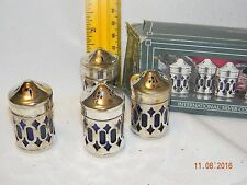Vintage Cobalt Blue Glass and Silver Salt and Pepper Shakers Set of 4