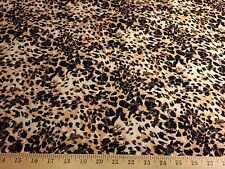 "Ivory/Camel/Black/Brown Big Cats Animal Print Rayon Challis Fabric 58"" W BTY"