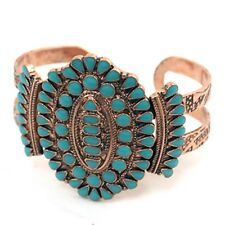 WESTERN southwestern squash blossom bracelet in turquoise and copper