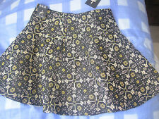 LADIES SKIRT ATMOSPHERE S 8 SHORT BLACK WITH GOLD ETC NEW WITH TAG PART COTTON