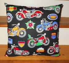 "Biker Motorcycle Motorcycles Road Hogs Cruisers Throw Pillow Cushion 15"" x 15"""