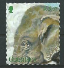 GUERNSEY 2010 ENDANGERED SPECIES INDIAN ELEPHANT UNMOUNTED MINT, MNH