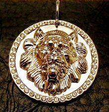Elvis Presley Style silver and crystal Lionhead Pendant (stunning)