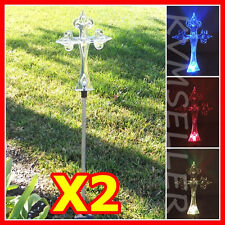 Set of 2 Solar Powered Cross Garden Yard Stake Lawn Bright Light LED Sun Power i