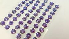 60pcs 10mm Self Adhesive AB Sparkle Gems AB PURPLE Stick on Diamante