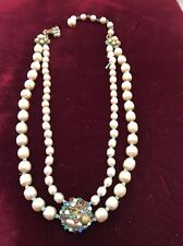 Vintage MIRIAM HASKELL Baroque Pearl 2 Strand Choker Necklace