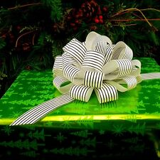 6 Big Black White Stripe  Pull Bows Christmas Gift Wrap Wreath Party Decorations