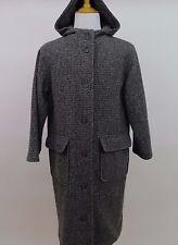 Womans Eddie Bauer Wool Tweed Hooded Winter Jacket Trench OverCoat Medium Petite