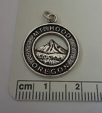 Sterling Silver 19mm Round says Mt. Hood Oregon Charm
