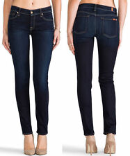 $189 NWT 7 SEVEN FOR ALL MANKIND JEANS SLIM CIGARETTE SKINNY BLACK NIGHT BLUE 24