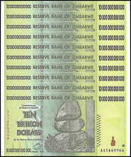 Zimbabwe 10 Trillion X 10 Pieces (PCS),AA/2008,P-88,Circulated,Used,100 Trillion