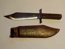 "VINTAGE KABAR 1210 ""J BOWIE"" KNIFE WOOD HANDLE WITH SHEATH"