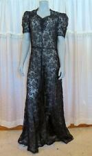 VTG 1930's LONG WWII ERA DECO ROCKIBILLY BLACK OVERLAY CHANTILLY LACE GOWN DRESS