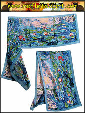 SCARF SILK CLAUDE MONET BLUE WATER LILIES GIVERNY IMPRESSIONIST ART FRANCE B