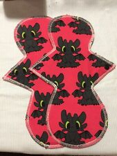 Set/2 Reusable Menstrual Pads (Toothless, How To Train your Dragon) Momma Cloth