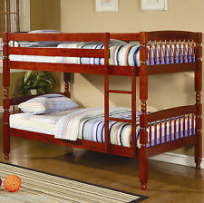 Coral Traditional Twin Over Bunk Bed in Pine and Cherry Finish Youth Bedroom Set