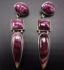 Signed NAVAJO Etta Endito PURPLE Spiny Oyster Shell & Sterling Silver EARRINGS